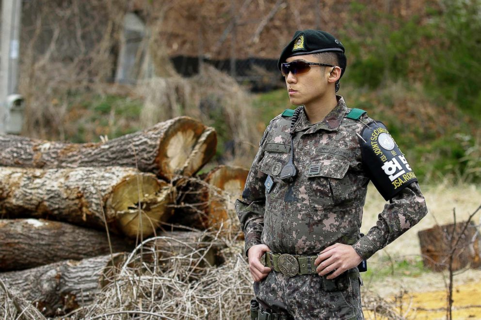 PHOTO: Military stand guard at their check area at Taesung Freedom village in the Demilitarized Zone, South Korea.