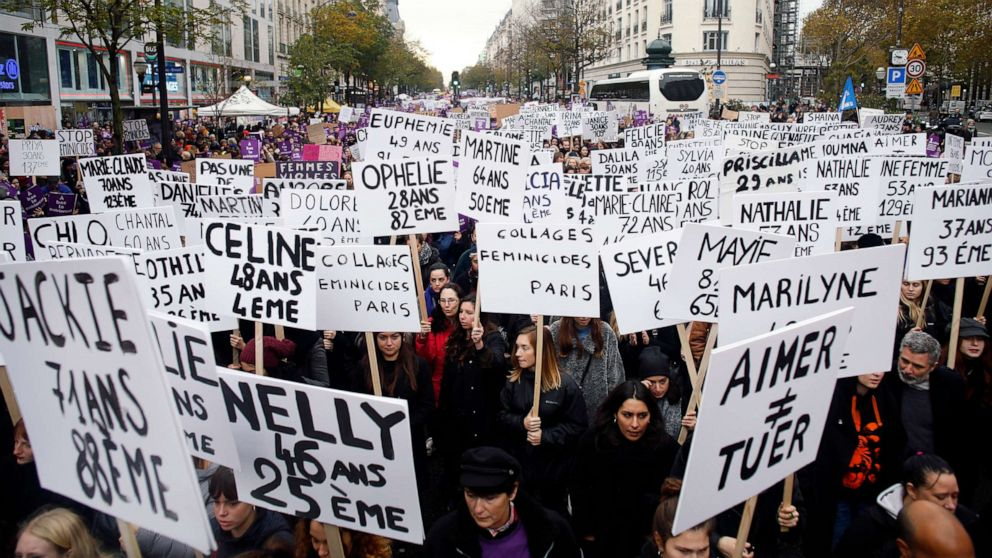 Tens of thousands march against gendered violence in Paris thumbnail