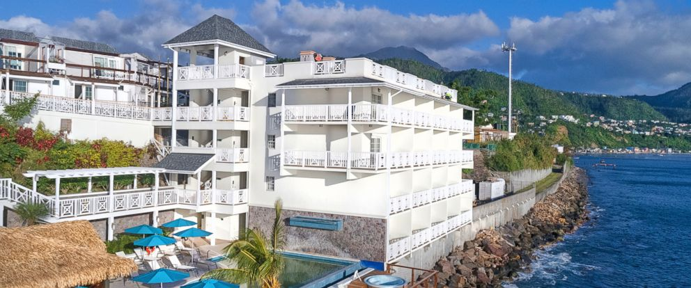 This Jan. 30, 2018 photo shows the Fort Young Hotel on Dominica. The hotel has partly reopened following Septembers Hurricane Maria, which heavily impacted Dominica. The island is under a hurricane watch again due to Beryl.