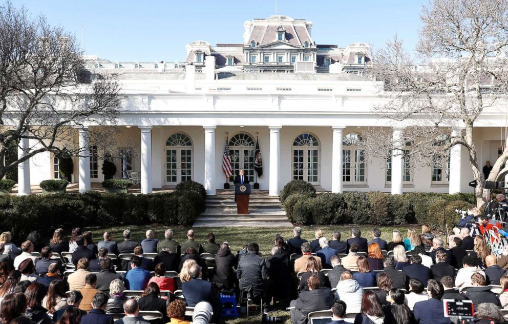 President Donald Trump speaks during an event in the Rose Garden at the White House, in Washington, Feb. 15, 2019.