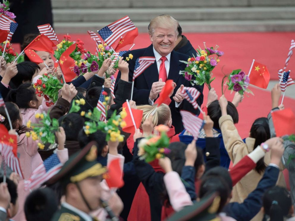 PHOTO: President Donald Trump attend a welcome ceremony at the Great Hall of the People in Beijing on Nov. 9, 2017.