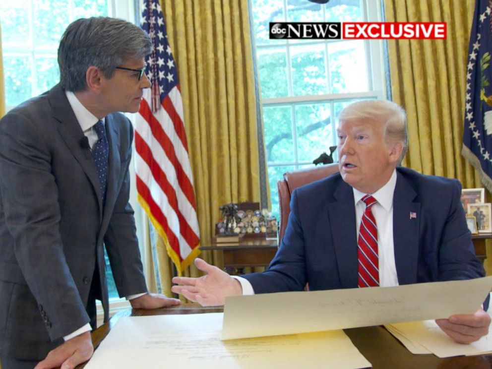 PHOTO: ABC News George Stephanopoulos talks with President Donald Trump in the Oval Office of the White House in Washington.
