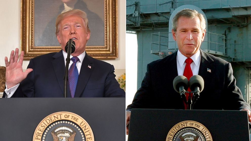 "Politician Direct donald-trump-george-w-bush-split-gty-ap-jt-180414_hpMain_16x9_992 Trump tweets two words that haunted Bush: 'Mission Accomplished!"" ABC Politics  Politics"