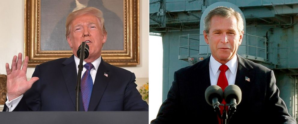 PHOTO: Pictured (L-R) are President Donald Trump on April 13, 2018 and President George W. Bush on May 2, 2003.