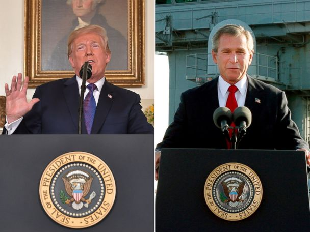 "Politician Direct donald-trump-george-w-bush-split-gty-ap-jt-180414_hpMain_4x3_608 Trump tweets two words that haunted Bush: 'Mission Accomplished!"" ABC Politics  Politics"