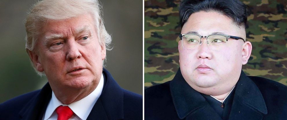 PHOTO: Pictured (L-R) are President Donald Trump in Washington, D.C., March 19, 2017 and North Korean leader Kim Jong-Un in North Korea, in an undated photo released Jan. 28, 2017.