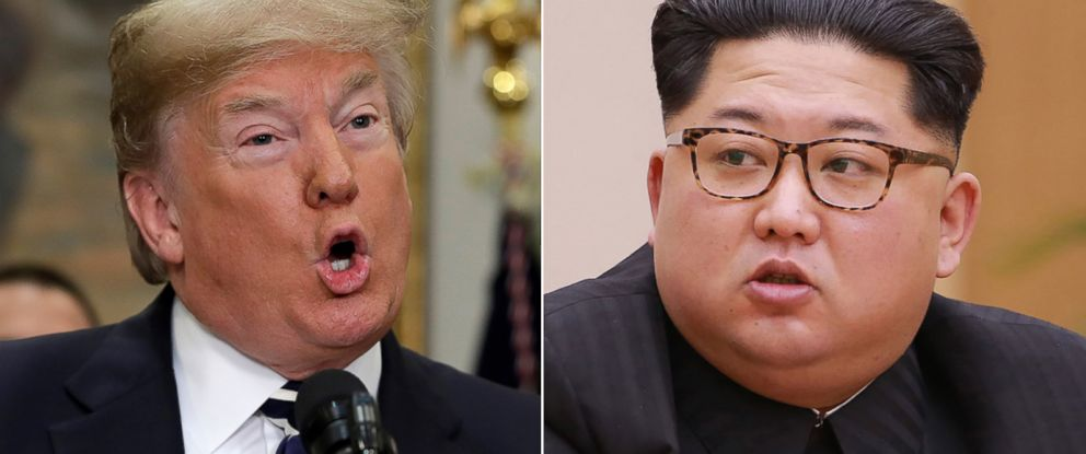 PHOTO: Pictured (L-R) are President Donald Trump in Washington, D.C., May 24, 2018 and North Korean leader Kim Jong Un in Pyongyang, North Korea, April 9, 2018.