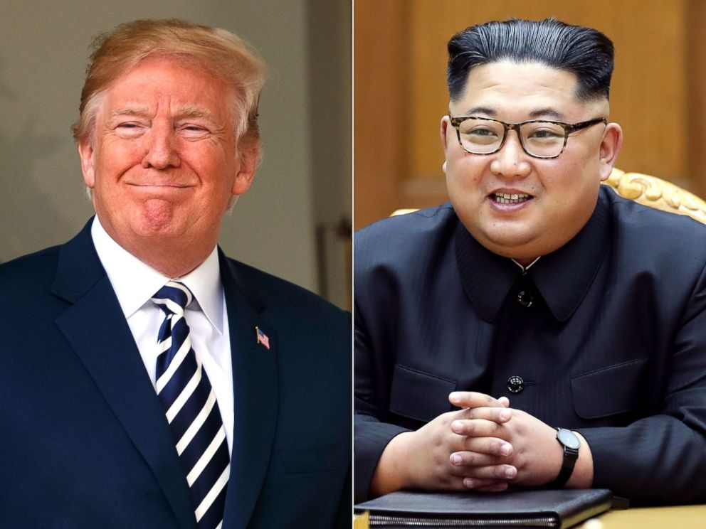PHOTO: President Donald Trump in Washington, June 6, 2018. | North Korean leader Kim Jong Un in North Korea, May 26, 2018.  North, South Korea moving on joint projects including reunions of long-separated families donald trump kim jong un ap mt 180609 hpEmbed 3 4x3 992
