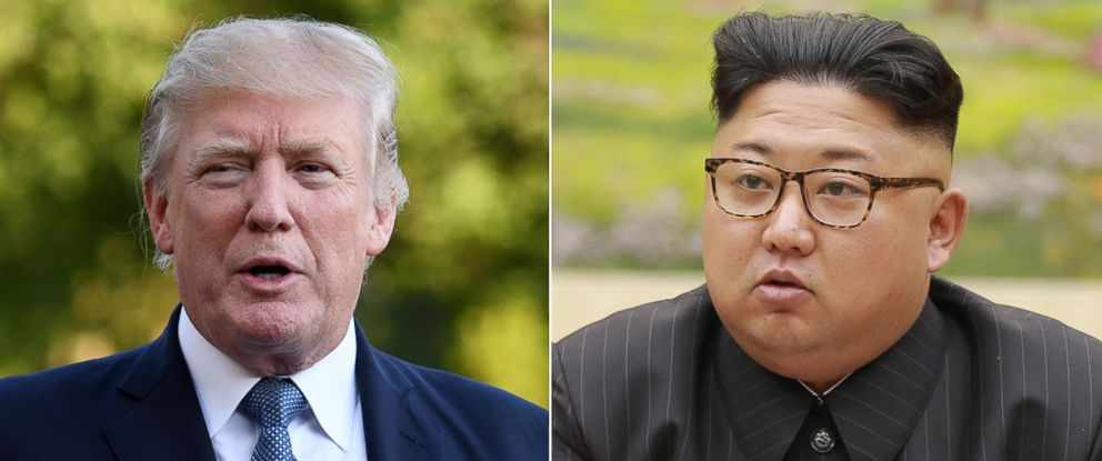 PHOTO: Pictured (L-R) are President Donald Trump in Washington, D.C., Sept. 24, 2017 and North Koreas leader Kim Jong Un on Sept. 3, 2017.