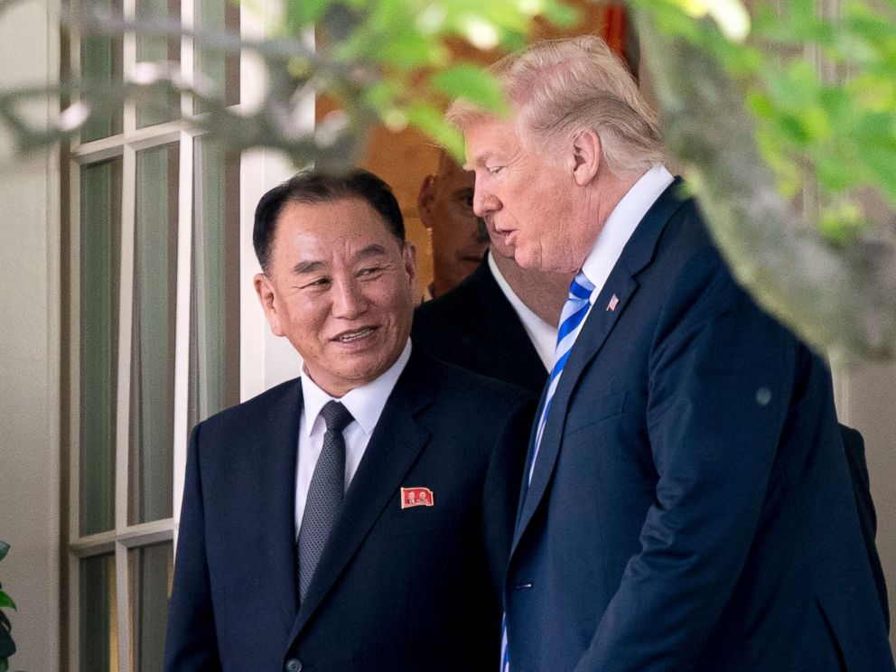 PHOTO: President Donald Trump talks with Kim Yong Chol, former North Korean military intelligence chief and one of leader Kim Jong Uns closest aides, as they walk from their meeting in the Oval Office of the White House in Washington, D.C., June 1, 2018.