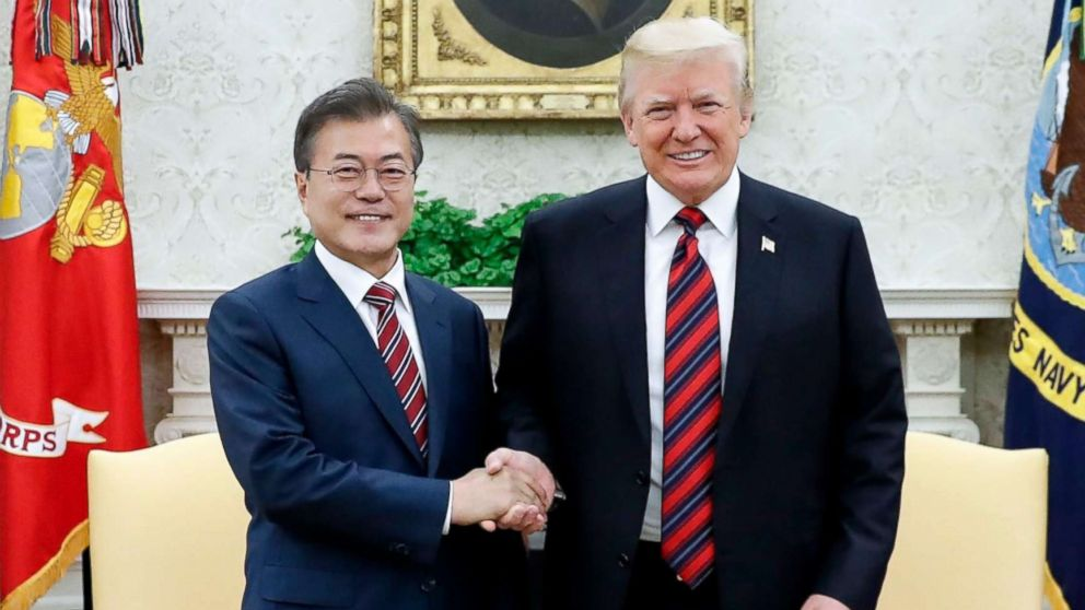 South Korean President Moon Jae-in and President Donald J. Trump shake hands during a meeting at the White House in Washington, May 22, 2018.