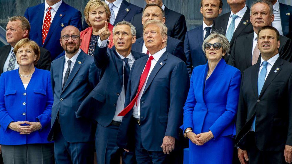(L-R) German Chancellor Angela Merkel, Belgian Prime Minister Charles Michel, NATO Secretary General Jens Stoltenberg, President Donald Trump, British Prime Minister Theresa May and Prime Minister of Estonia Juri Ratas at NATO summit in Brussels, July 11, 2018.