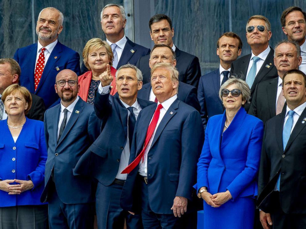 PHOTO: President Donald Trump and other leaders at NATO summit in Brussels, July 11, 2018.