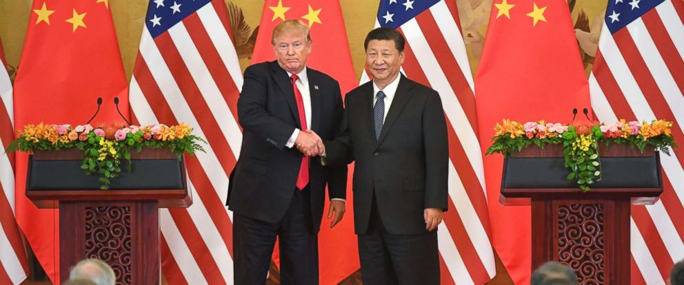 PHOTO: President Donald Trump and Chinese President Xi Jinping shake hands at a joint news conference held after their meeting in Beijing on Nov. 9, 2017.