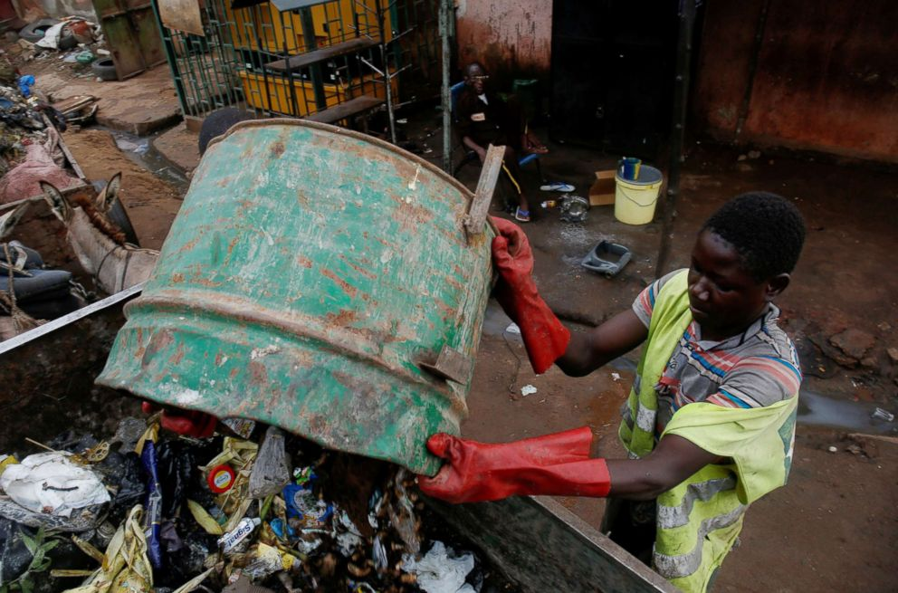 PHOTO: Djibril Diabate, 16, who collects garbage using a donkey, collects garbage as he works in Bamako, Mali, Aug. 10, 2018.