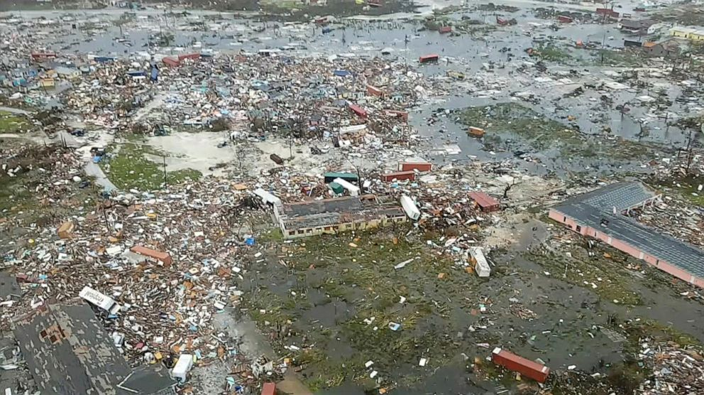 PHOTO: An aerial view of devastation after hurricane Dorian hit the Abaco Islands in the Bahamas, Sept. 3, 2019.