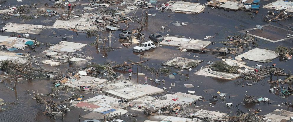 PHOTO: An aerial view of damage caused by Hurricane Dorian is seen on Great Abaco Island on Sept. 4, 2019, in Great Abaco, Bahamas.
