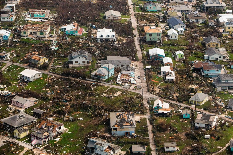 PHOTO: An aerial view of destroyed structures on the Abaco Islands in the Bahamas after Hurricane Dorian swept through the area, on Wednesday, Sept. 4, 2019.