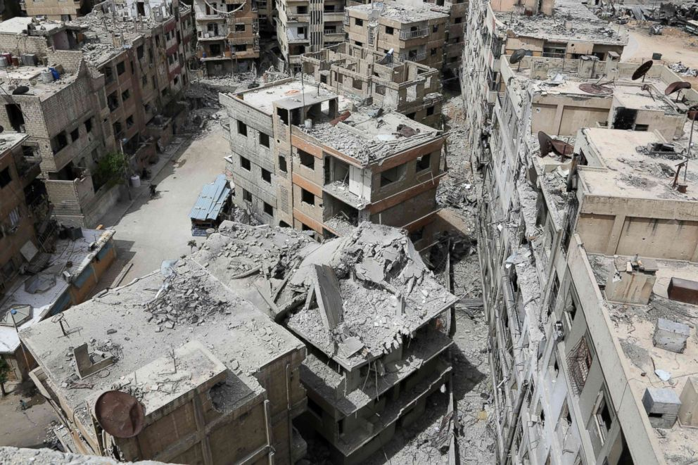 The former Syrian town of Douma on the outskirts of Damascus, April 17, 2018, after the Syrian army declared that all anti-regime forces have left Eastern Ghouta, following a blistering two month offensive on the rebel enclave.