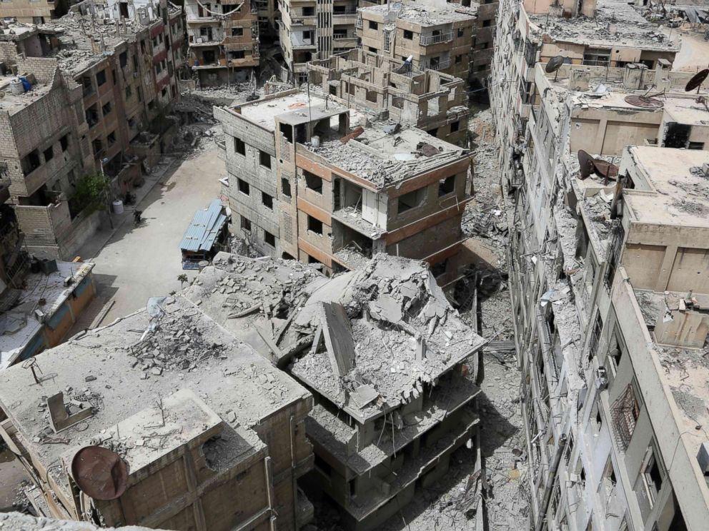PHOTO: The former Syrian town of Douma on the outskirts of Damascus, April 17, 2018, after the Syrian army declared that all anti-regime forces have left Eastern Ghouta, following a blistering two month offensive on the rebel enclave.