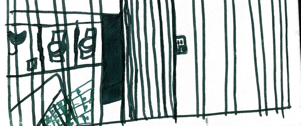 PHOTO: Picture illustrates bathroom like toilets in cages in this Illustration made by children at the Catholic Charities Humanitarian Respite Center in McAllen, Texas.