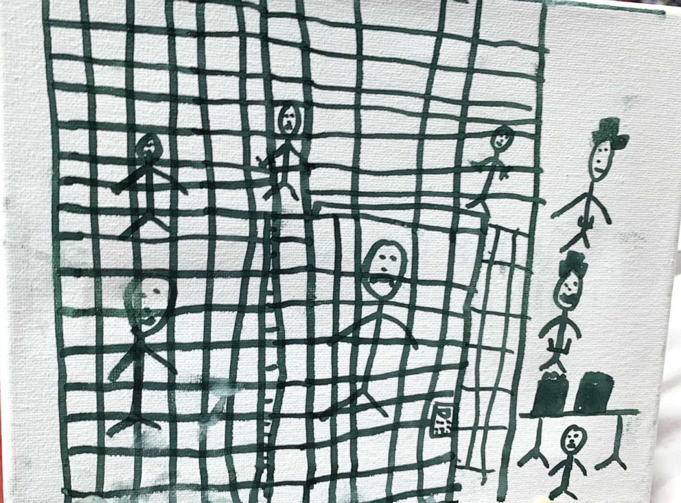 PHOTO: Picture shows children behind cages in Illustrations drawn by children at the Catholic Charities Humanitarian Respite Center in McAllen, Texas.