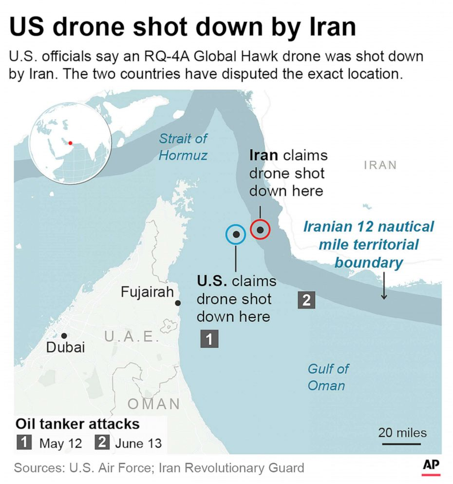 PHOTO: Graphic pinpoints the drone shooting locations provided by the U.S. and Iran and shows how they are conflict in location.