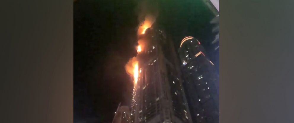 PHOTO: A fire has broken out at a 82-story skyscraper in Dubai called Marina Torch.