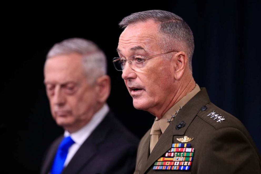 PHOTO: Chairman of the Joint Chiefs of Staff, Marine Gen. Joseph Dunford, right, with Secretary of Defense Jim Mattis. speaks to reporters during a news conference at the Pentagon, Aug. 28, 2018 in Washington.