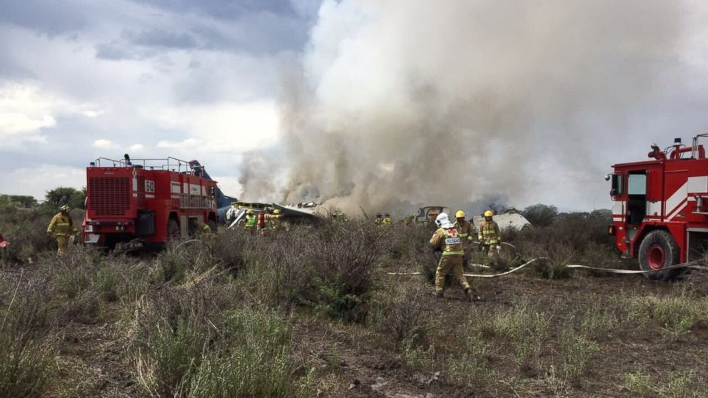 An AeroMexico passenger plane departing from the Guadalupe Victoria Airport in Durango crashes moments after take-off.