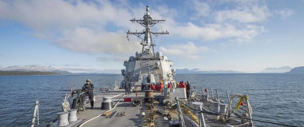 PHOTO: The Arleigh Burke-class guided-missile destroyer USS Farragut (DDG 99) prepares to moor pierside in Tromso, Norway, Sept. 7, 2018.