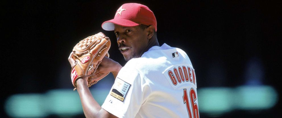PHOTO: Dwight Gooden of the Houston Astros lines up the pitch during a game against the Philadelphia Phillies in Houston, Texas.