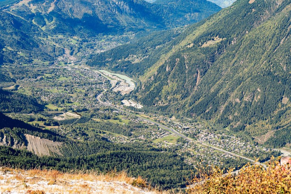 PHOTO: View from the Plan dAguille overlooking the town of Chamonix, mean Mont Blanc in France.