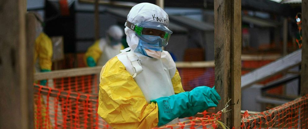 PHOTO: An Ebola health worker is seen at a treatment center in Beni, Eastern Congo, April, 16, 2019.