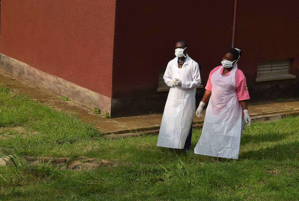 PHOTO:Ugandan medical staff are seen as they inspect the ebola preparedness facilities at the Bwera general hospital near the border with the Democratic Republic of Congo in Bwera, Uganda, June 12, 2019.