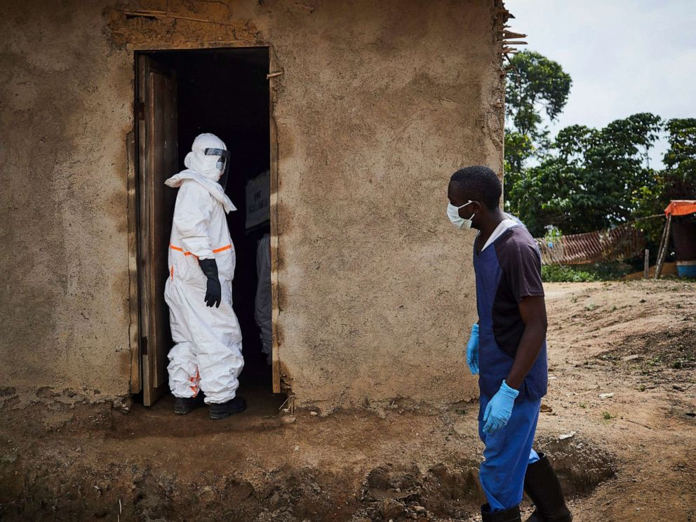 PHOTO: A health team begins to disinfect a clinic in Ngongolio, Beni, North Kivu province, Democratic Republic of the Congo, Aug. 28, 2019. The clinic briefly treated a patient before he was sent to a treatment center for Ebola.
