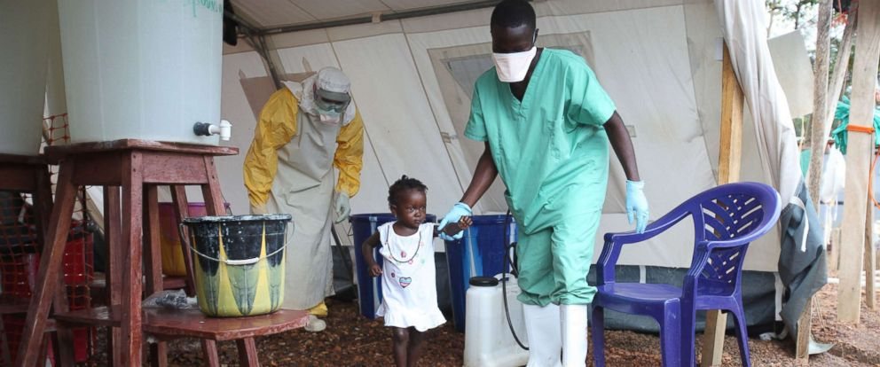 PHOTO: Isata, a 22-month-old, is the youngest patient to be discharged from the Ebola treatment centre in Kailahun district, Sierra Leone, Aug. 12, 2014.