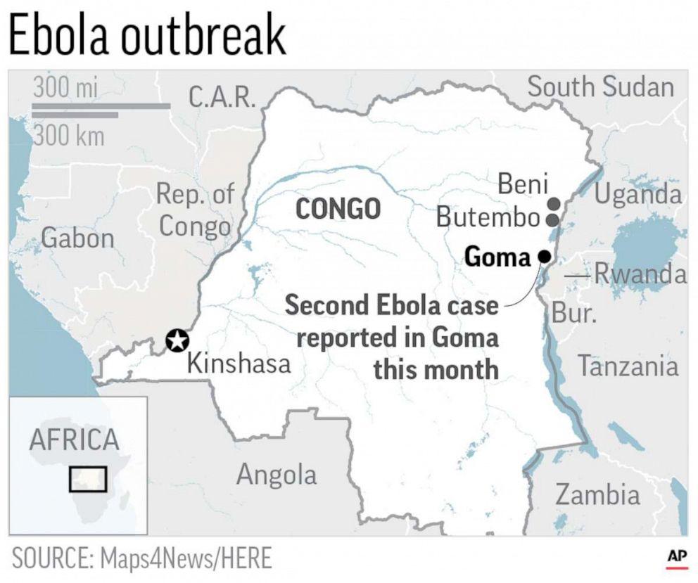 PHOTO: A map locates Goma, Congo.