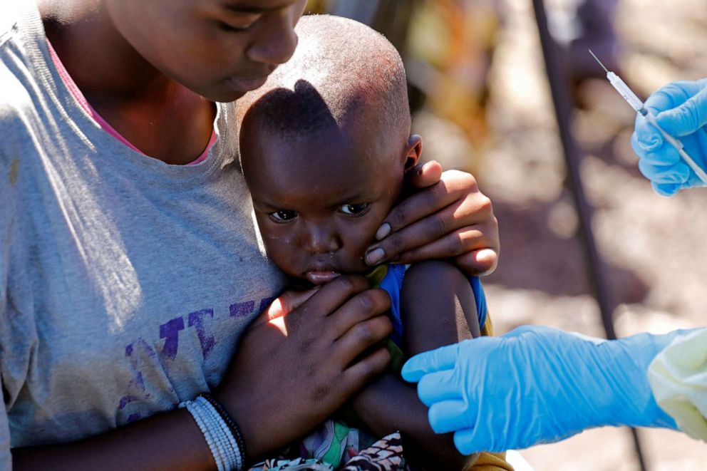 PHOTO: A child reacts as a health worker injects her with the Ebola vaccine, in Goma, Democratic Republic of Congo, Aug. 5, 2019.