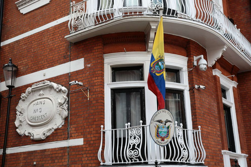 PHOTO:A general view of the Ecuadorian Embassy following the arrest of Wikileaks founder, Julian Assange, April 11, 2019, in London.