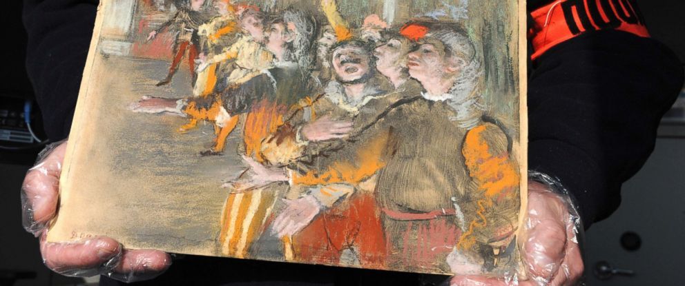 PHOTO: This photo taken on Feb. 22, 2018, shows a stolen painting by French painter Edgar Degas. French customs have discovered an original Impressionist masterpiece by Edgar Degas stolen in 2009 - in a suitcase on a bus.