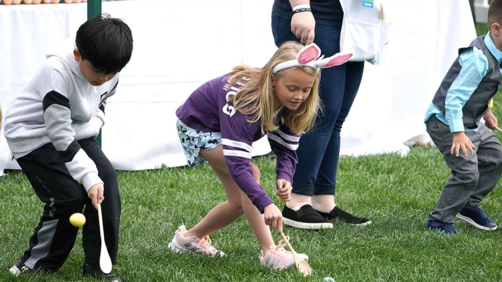 Kids at White House Easter Egg Roll ask Trump about the wall