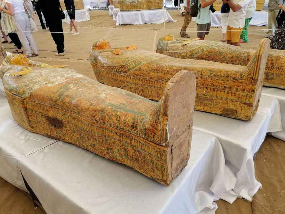 PHOTO: Egypt unveiled 30 ancient wooden coffins on Saturday that were discovered in the southern city of Luxor, in what the countrys antiquities ministry described as one of the largest discoveries in years.
