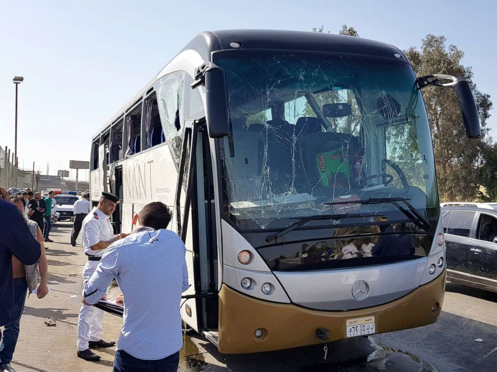 PHOTO: A damaged bus is seen at the site of a blast near a new museum being built close to the Giza pyramids in Cairo, May 19, 2019.