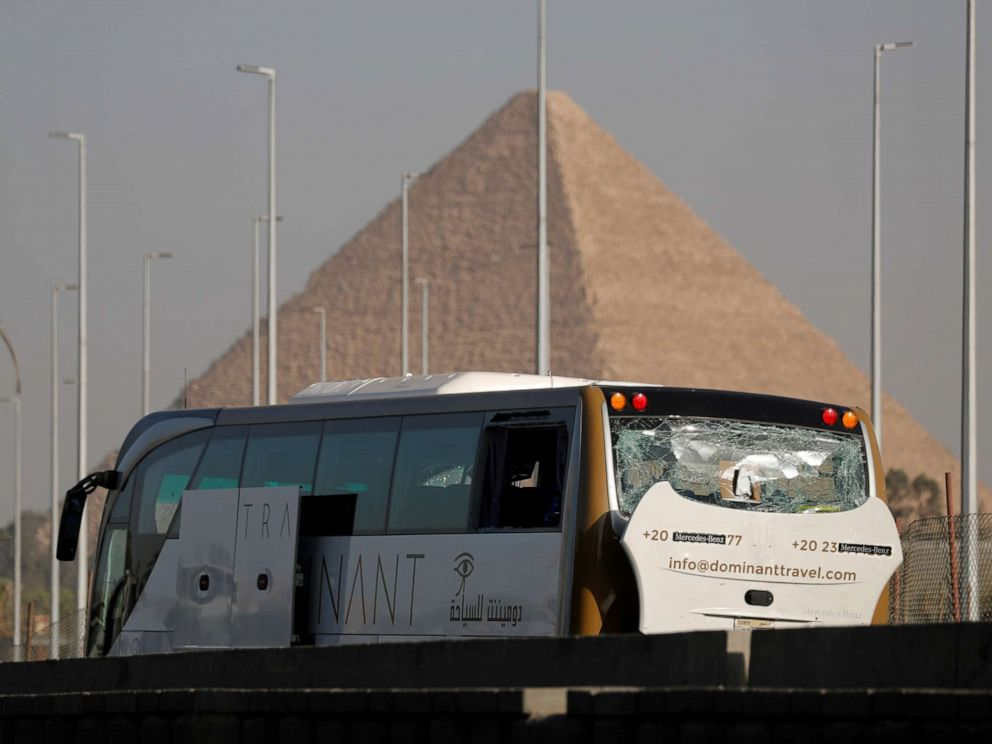 PHOTO:A damaged bus is seen at the site of a blast near a new museum being built close to the Giza pyramids in Cairo, May 19, 2019.