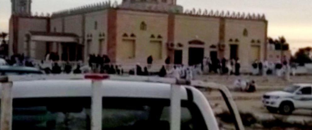 PHOTO: The exterior of Al Rawdah mosque is seen in Bir Al-Abed, Egypt, Nov. 24, 2017 in this still taken from video.
