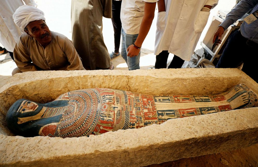 PHOTO: A sarcophagus that was discovered near the King Amenemhat II pyramid is displayed during a presentation, south of Cairo, July 13, 2019.