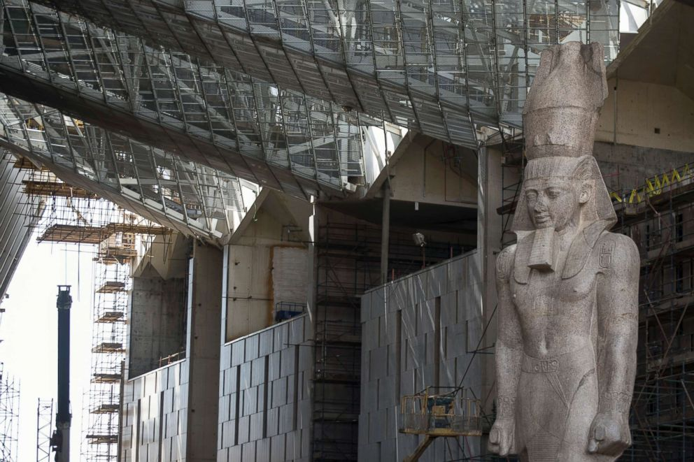 The colossus of Pharaoh King Ramses II is seen at it's permanent display spot inside the Grand Egyptian Museum, in Giza, Egypt, April 26, 2018.