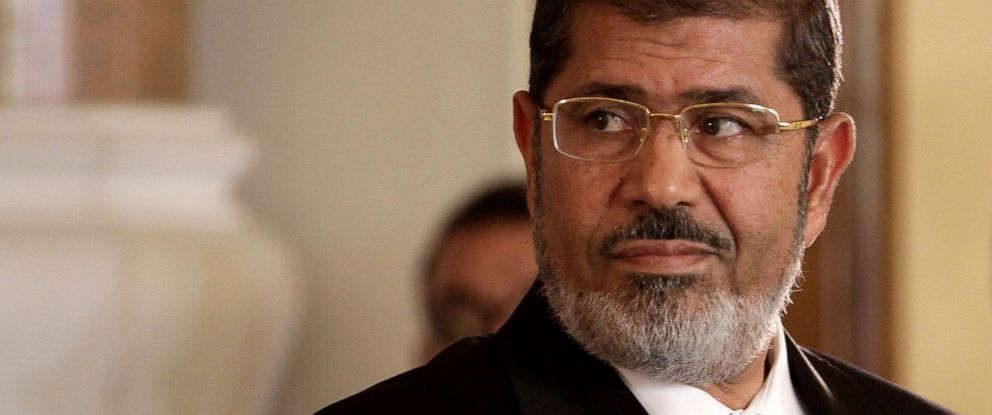PHOTO: Egyptian President Mohammed Morsi holds a news conference with Tunisian President Moncef Marzouki, at the Presidential palace in Cairo, Egypt, July 13, 2012.
