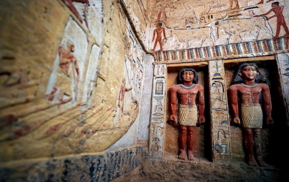 PHOTO: Statues are seen inside inside the newly-discovered tomb of Wahtye, which dates from the rule of King Neferirkare Kakai, at the Saqqara area near its necropolis, in Giza, Egypt, Dec. 15, 2018.